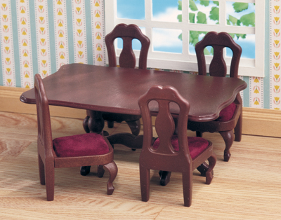 Brown Ornate Dining Table & Chairs