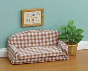 Gingham Sofa & Plant